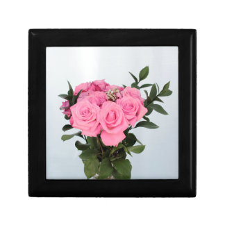 Vibrant Bouquet of Beautiful Pink Roses Jewelry Box