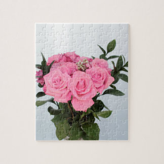 Vibrant Bouquet of Beautiful Pink Roses Jigsaw Puzzle