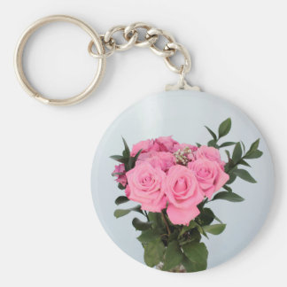 Vibrant Bouquet of Beautiful Pink Roses Keychain