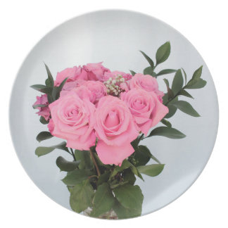Vibrant Bouquet of Beautiful Pink Roses Melamine Plate