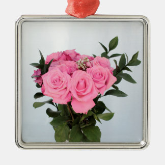 Vibrant Bouquet of Beautiful Pink Roses Metal Ornament
