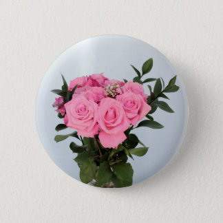 Vibrant Bouquet of Beautiful Pink Roses Pinback Button