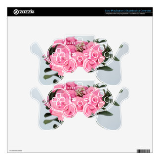 Vibrant Bouquet of Beautiful Pink Roses PS3 Controller Decals