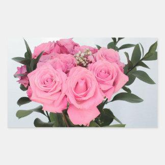 Vibrant Bouquet of Beautiful Pink Roses Rectangular Sticker