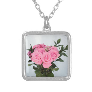 Vibrant Bouquet of Beautiful Pink Roses Silver Plated Necklace