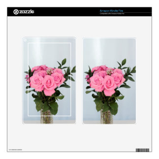Vibrant Bouquet of Beautiful Pink Roses Skins For Kindle Fire