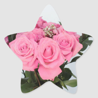Vibrant Bouquet of Beautiful Pink Roses Star Sticker
