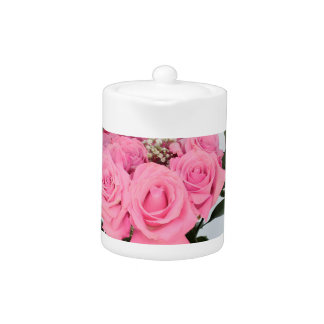 Vibrant Bouquet of Beautiful Pink Roses Teapot