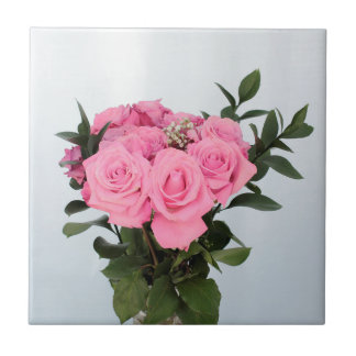 Vibrant Bouquet of Beautiful Pink Roses Tile