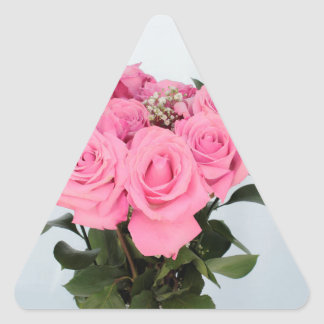 Vibrant Bouquet of Beautiful Pink Roses Triangle Sticker