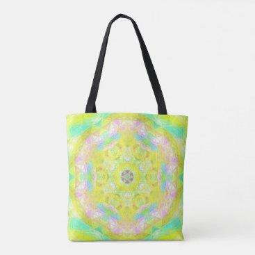 Beach Themed Vibrant Bright Lemon Lime Pastel Kaleidoscope Tote Bag
