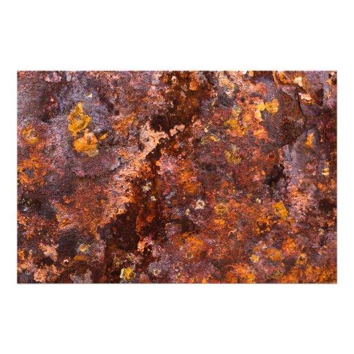 Vibrant Brown Rustic Iron Texture Photo Print