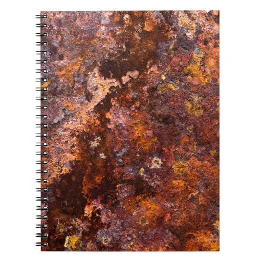 Vibrant Brown Rustic Iron Texture Spiral Notebooks