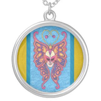 Vibrant Butterfly Mardi Gras Mask Necklace