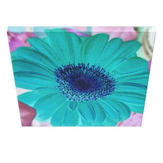 Vibrant Calming Teal Aqua Gerber Daisy Pop Floral Canvas Print
