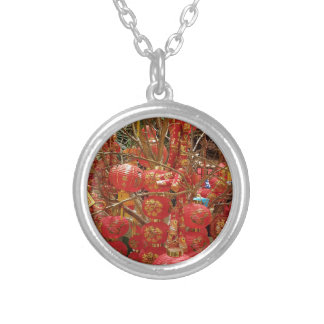Vibrant Chinese New Year Lantern Display Silver Plated Necklace