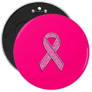 Vibrant Chrome Glitter Style Pink Ribbon Awareness Button