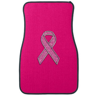 Vibrant Chrome Glitter Style Pink Ribbon Awareness Car Floor Mat