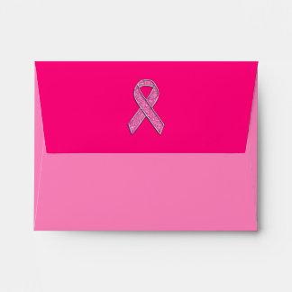 Vibrant Chrome Glitter Style Pink Ribbon Awareness Envelope