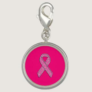 Vibrant Chrome Glitter Style Pink Ribbon Awareness Photo Charms
