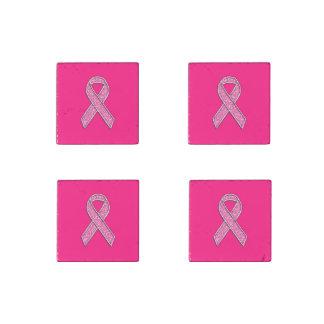 Vibrant Chrome Glitter Style Pink Ribbon Awareness Stone Magnet