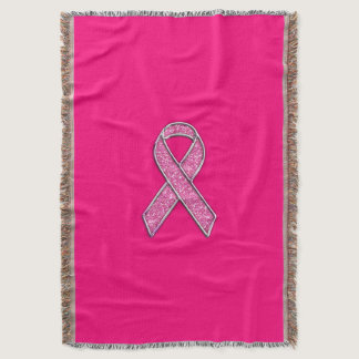 Vibrant Chrome Glitter Style Pink Ribbon Awareness Throw