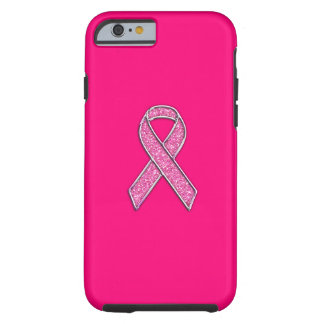 Vibrant Chrome Glitter Style Pink Ribbon Awareness Tough iPhone 6 Case
