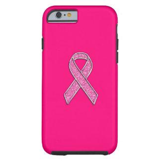 Vibrant Chrome Glitter Style Pink Ribbon Awareness Tough iPhone 6 Case