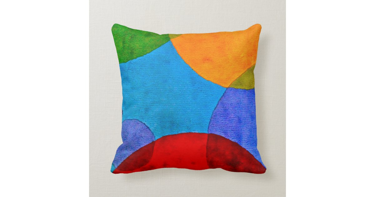 Throw Pillows Primary Colors : Vibrant Circle Pattern Primary Colors Pillow Zazzle