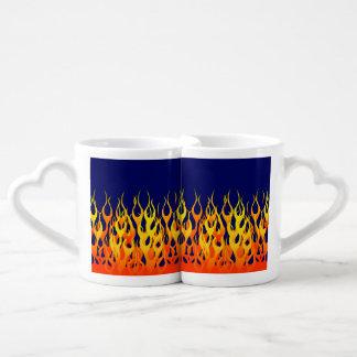 Vibrant Classic Racing Flames on Navy Blue Coffee Mug Set
