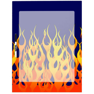 Vibrant Classic Racing Flames on Navy Blue Dry-Erase Board
