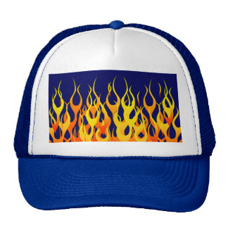 Vibrant Classic Racing Flames on Navy Blue Trucker Hat