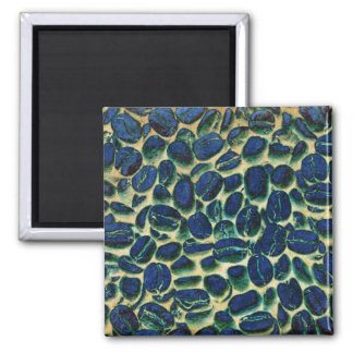 vibrant coffee beans 2 inch square magnet