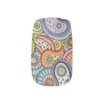 Vibrant color abstract paisley pattern minx nail art