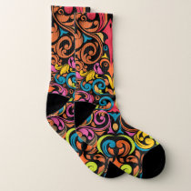 Vibrant color abstract pattern socks