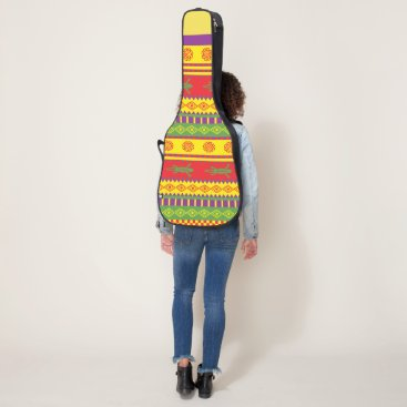 Aztec Themed Vibrant color Aztec pattern Guitar Case