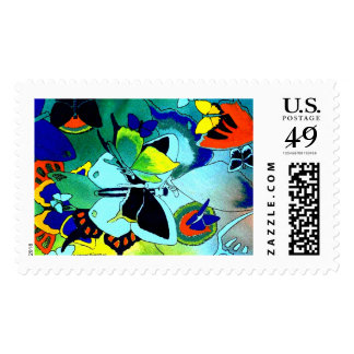 Vibrant Color Butterfly Mosaic Collage Postage