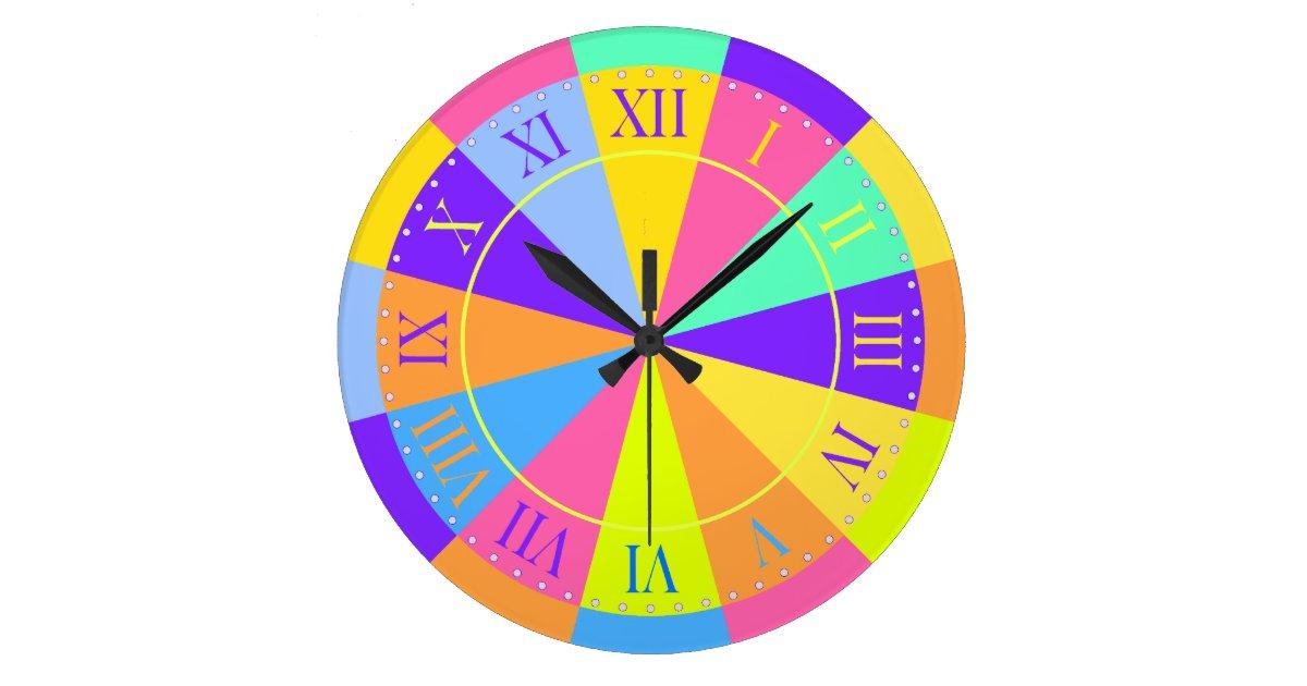 Vibrant Color Wheel Big Roman Numerals Large Clock