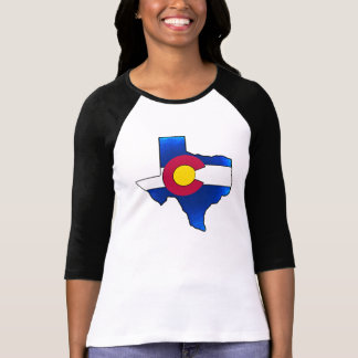 Vibrant Colorado flag Texas outline reglan shirt