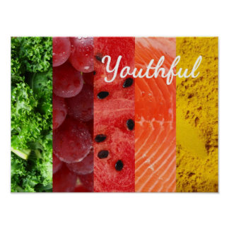 Vibrant colored food fact poster. print