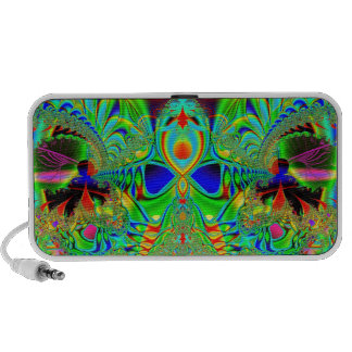 vibrant colored fractal speakers