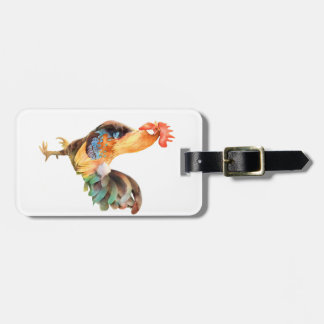 Vibrant colored Rooster Bag Tag
