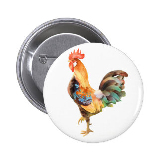 Vibrant colored Rooster Pinback Buttons