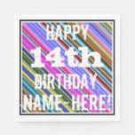 [ Thumbnail: Vibrant, Colorful 14th Birthday + Custom Name Paper Napkin ]
