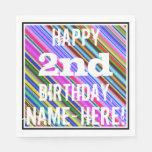[ Thumbnail: Vibrant, Colorful 2nd Birthday + Custom Name Napkin ]