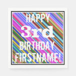 [ Thumbnail: Vibrant, Colorful 3rd Birthday + Custom Name Paper Napkin ]