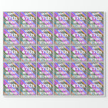[ Thumbnail: Vibrant, Colorful 47th Birthday + Custom Name Wrapping Paper ]