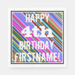 [ Thumbnail: Vibrant, Colorful 4th Birthday + Custom Name Paper Napkin ]