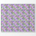 [ Thumbnail: Vibrant, Colorful 87th Birthday + Custom Name Wrapping Paper ]