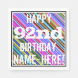 [ Thumbnail: Vibrant, Colorful 92nd Birthday + Custom Name Paper Napkin ]